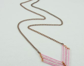 Chevron Necklace, Pink and White with Antique Copper Chain, Bohemian Jewelry, Long Necklace, Boho Chic, Three Different Lengths Available