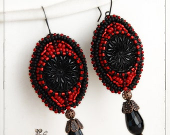 earrings - Black Red - gothic, vampire, blood red, beadwoven, antique floral glass buttons, retro, boho