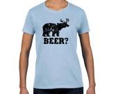 Funny beer t shirt bear deer t shirt redneck hunter shirt