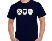 Boyfriend Gift PEACE LOVE BIKE Shirt Cycling Gift Workout Shirt Cycling Shirt Fitness Apparel Workout Tops Gym Shirts Mountain Bike Gift