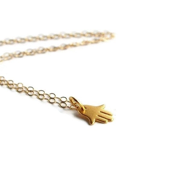 Hamsa Necklace, Tiny Gold Hamsa Hand Necklace, Hamsa Jewelry, Jewish Necklace, Petite Jewelry, Hand of Fatima
