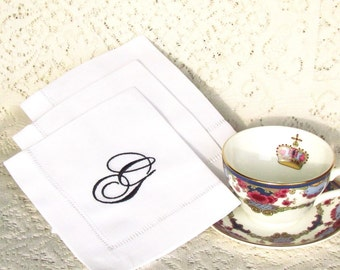 Monogrammed Linen Napkins, Tea Napkins,  Set of 4, Choose Your Monogram Font:  Cottage Roses or Modern or Elegant or Heirloom