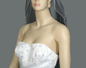 Narrow Angel Cut Wedding Veil, 1-Tier Elbow Length Bridal Veil