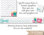 Blank DIY Etsy Banner Set - Sew Perfect- Customize for your Store Facebook and Business Card Available Too