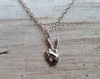 Super SALE Tiny Peace Hand Charm Necklace