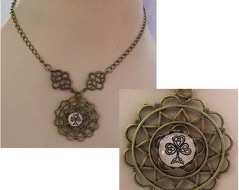 Burnished Gold Celtic Knot Clover Pendant Necklace Jewelry Handmade Accessories