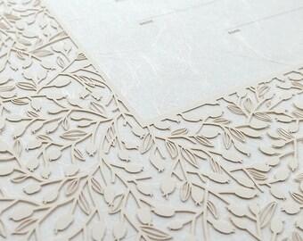 Ketubah Papercut by Jennifer Raichman - Lace Leaves on Japanese Washi Paper