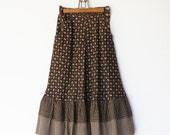 Vintage House on the Prairie Brown Floral Flared Skirt / Size XS S