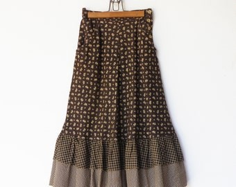 Vintage House on the Prairie Skirt / Brown Floral Flared Skirt / Size XS S