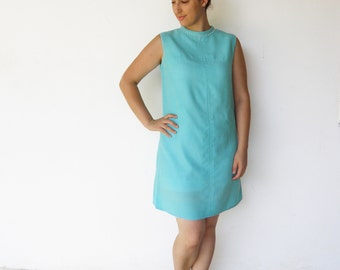 Vintage 60s Shift Dress / 1960s Turquoise Dress / Size L