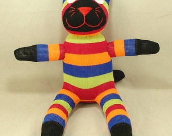 Free Shipping Handmade Sock Cat Kitty Stuffed Animal Doll Baby Toys Gift