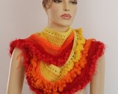 30% OFF only this month Boho Chic Gypsy Multicolor Long Crochet  Scarf  in Pure Wool and Cotton, Red, Yellow, Orange  Bohemian Scarf