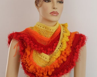 Boho Chic Gypsy Multicolor Long Crochet  Scarf  in Pure Wool and Cotton, Red, Yellow, Orange  Bohemian Scarf