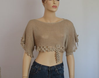 Ready to ship Knit  Crochet Lace Beige Cotton  Shrug - Cropped sweater - Crop Top -  Summer  Fashion- Fall Wedding - Luxury