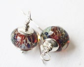 Red Purple Blue & Amber Earrings - Lampwork Small Petite Silver Elegant Special Occasion Earrings-