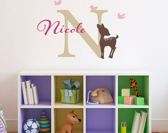 Fawn Decal with Custom Initial, Name and Birds - Deer Wall Decal - Girls Name Wall Art - Medium