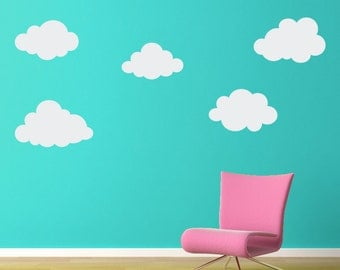 Puffy Cloud Wall Decal Set - (2 sets) 10 Clouds Total  - Cloud Wall Art - Children Wall Decals