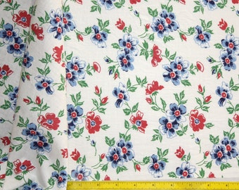 "Partial Feedsack 18"" x 36"" w Vintage Feedsack Blue and  Double Pink Flowers Cotton Quilt Fabric"