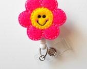 Happy Flower - Retractable ID Badge Reel - MD Badge Holder - Cute Badge Reel - Nurse Badge Holder - Nursing Badge Clip - Teacher Badge