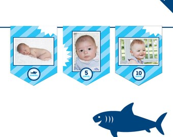 INSTANT DOWNLOAD Shark Party - DIY printable photo banner kit