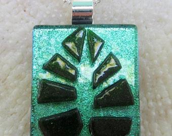 Green  dichroic fused glass Leaf Pendant
