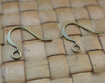 100 Pairs Antiqued Gold Plated Brass Hook Style Earrings (21 Gauge, 15mm Wide)