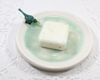 Blue bird soap dish, ceramic trinket holder, pottery jewelry dish