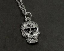 Sugar Skull Necklace, Silver Sugar Skull Charm on a Silver Cable Chain