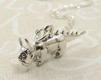 Chupacabra Necklace, Sterling Silver Chupacabra Charm on a Silver Cable Chain