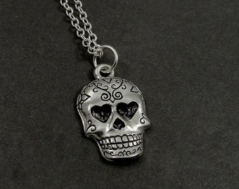 Sugar Skull Necklace, Silver Sugar Skull Charm on a Silver Cable Chain
