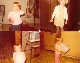 1970s Little Girl Photos Vintage Original Photograph Set Abandoned Paper Ephemera Baby Doll Play Print Mixed Media Supplies Art Photography