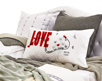 """Long Distance Relationship Pillow Case """"Love is the Shortest Distance"""" - I miss you personalized Couples Boyfriend Girlfriend pillowcase."""