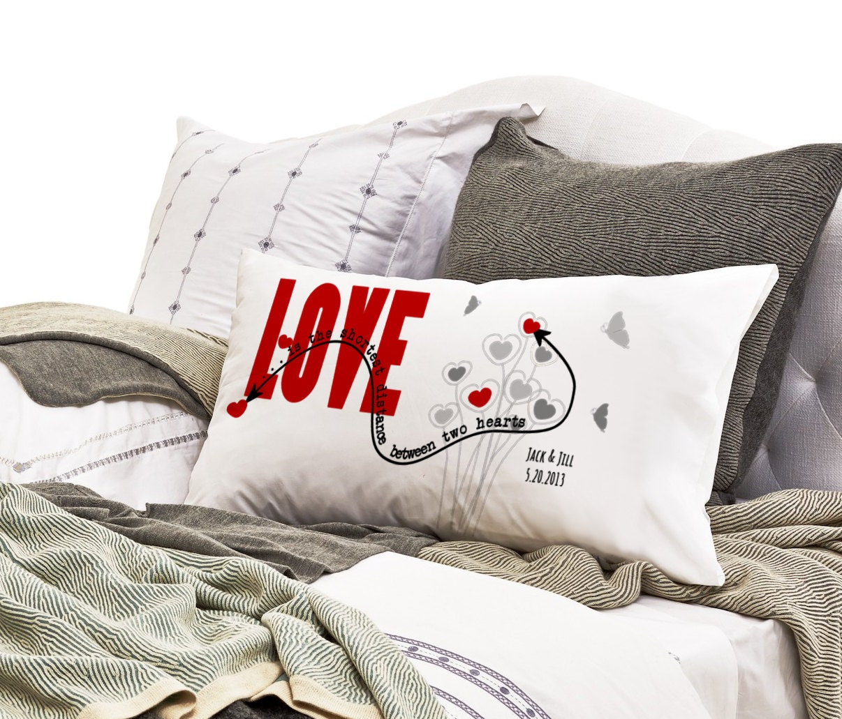 long distance relationship pillow case love is the. Black Bedroom Furniture Sets. Home Design Ideas