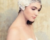 Lace Bridal Cap with Gold motifs , Ivory Lace Cap, Item 24