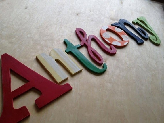 """Wood Letter 12"""" Can be done in any font or color Choose the length of the name at checkout"""