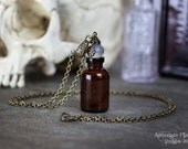 The Collector's Bottle Necklace - Empty Bottle with Rubber Stopper - 26 inch Chain