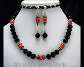 Faceted Crystal Necklace, Dangle Earrings, Opaque, Black and Orange, Oxidized, Bali, 925 Sterling Silver, Two Piece Set, Toggle, Jewelry