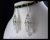 Swarovski Crystal Dangle Earrings, Milgrain Filigree, Clear AB, 925 Sterling Silver, Crystal Earwire, Aurora Borealis, Kite Shape, Jewelry