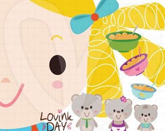 Goldilocks and 3 Cute Bears Clip Art Set -  D13013