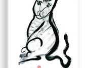 Cat or Tiger,  Zen Fine Art Cat Painting, for zen decor, childrens room artwork, fun art, custom pet portraits, memorial, japan illustration