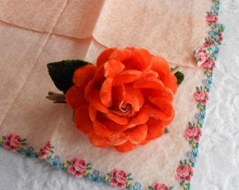 VELVET ROSE MILLINERY Orange Corsage Brooch Pin Green Leaves Petals Vintage Clothing Accessory Flapper Era Ladies Dress Hat Flower Nosegay