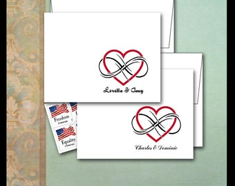 Endless Love Note Cards / Personalized Couple Stationery / Red Heart Infinity Forever Never Ending Love / Bride Thank You Card / Gay Lesbian