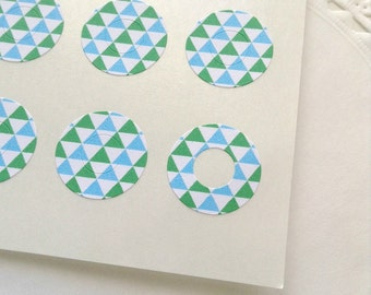 90 Sky Blue and Green Points - Circle Reinforcements - Labels, Stickers - Hole Reinforcements