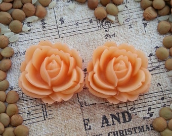 Large Bridal Plugs, Prom Plugs, Flower Plugs, Peach Pink Roses