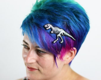 T. Rex Skeleton Hair Clip, Halloween, Various Colours on Black
