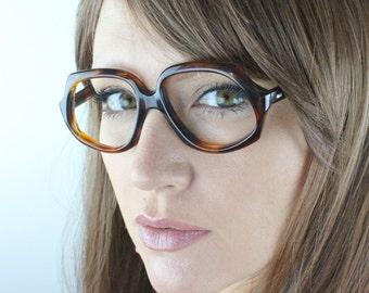 Vintage 60's French Brown Tortoise Angular Eyeglasses Frames