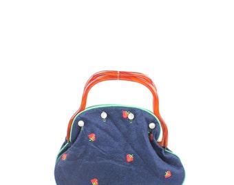 Vintage 70s Strawberry Embroidered Handbag Small Purse Clutch Lucite Handbag Navy Blue Wool Purse Hippie Purse