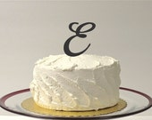 LETTER E - MONOGRAM Wedding Cake Topper Simple Beautiful with Personalized Monogrammed Wedding Cake Topper Custom Cake Topper