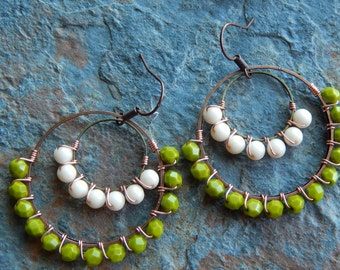 wire wrapped hoops, beaded hoop earrings, olive green and cream, colorblock, copper jewelry, gypsy earrings, autumn, fall fashion jewelry