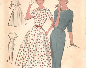 1950s Womens Dress with Full or Slim Skirt - Vintage Pattern Advance 8435 - Bust 38